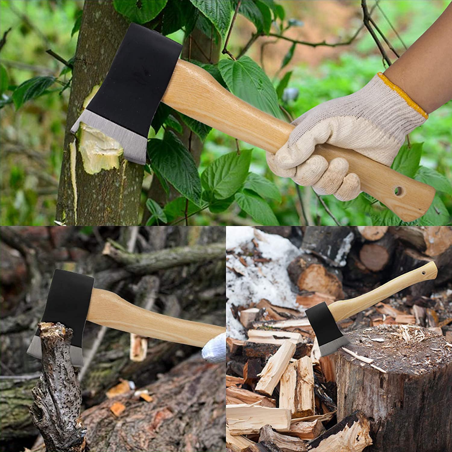 Garden hatchet,Great for Camping Black Outdoors and Chopping Wood Gtongoko Carbon Steel Camping Hatchet 15 inch Wood Chopping Axe Wooden Handle Camping Hand Tools with Protective Cover Survival