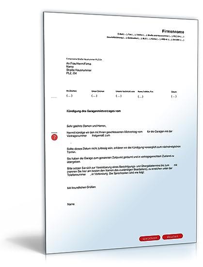 Fristgemäße Kündigung Garagenmietvertrag Durch Vermieter Pdf