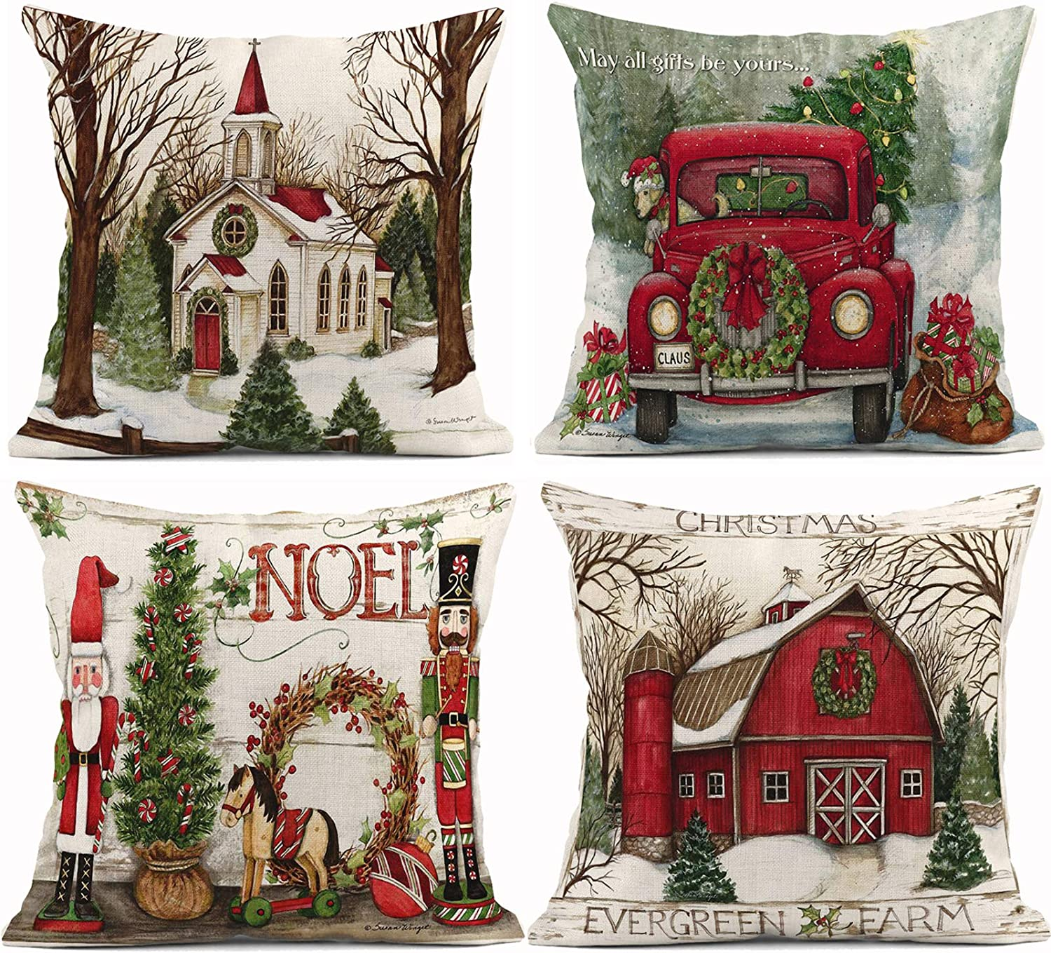 ArtSocket Set of 4 Throw Pillow Covers Christmas Tree with Red Car and Xmas Snow Winter The Decor Linen Pillow Cases Home Decorative Square 18x18 Inches Pillowcases