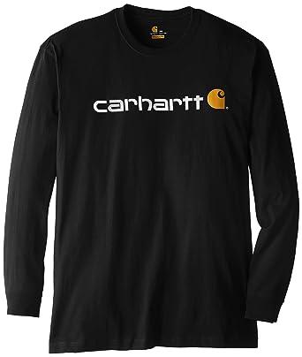 0ff35adbb7 Amazon.com: Carhartt Men's Big & Tall Signature Logo Midweight Jersey Long Sleeve  T-Shirt: Clothing
