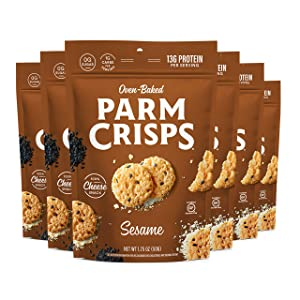 ParmCrisps Sesame, 1.75 Ounce (Pack of 6), Keto Snacks, 100% Cheese Crisps, Gluten Free, Sugar Free, Keto-Friendly