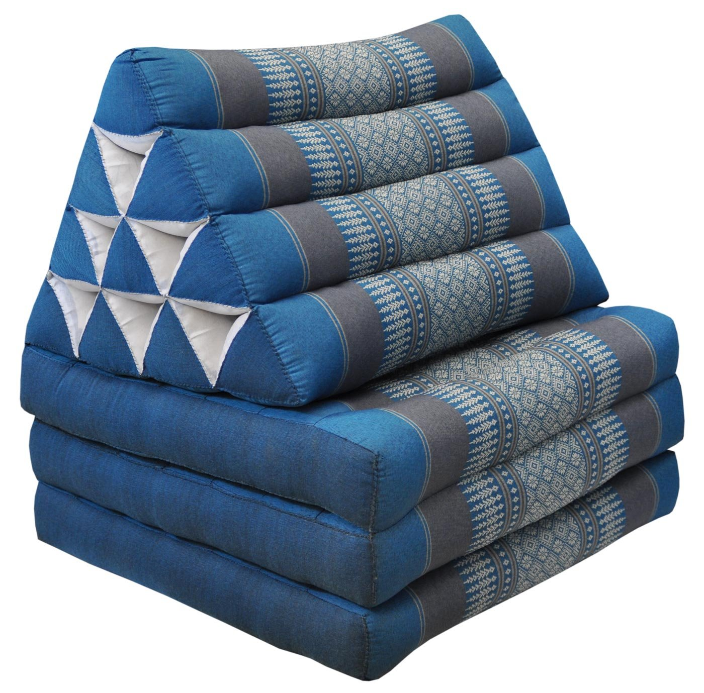 Thai mattress 3 folds with triangle cushion, blue/grey, relaxation, beach, pool, meditation garden (82603) by Wilai GmbH