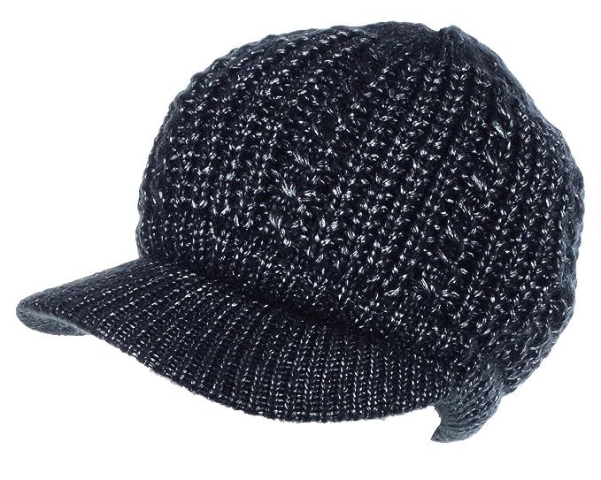 a2583359 BYOS Womens Winter Metallic Cable Knit Hat & Gloves Set, Warm Fleece Lined  Wool Beret