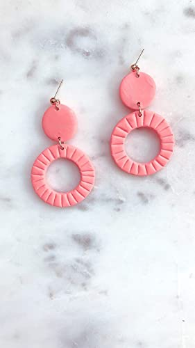 Pink Clay Dangles Lightweight Geometric Polymer Clay Earrings Spiraled Clay Trapezoid Earrings