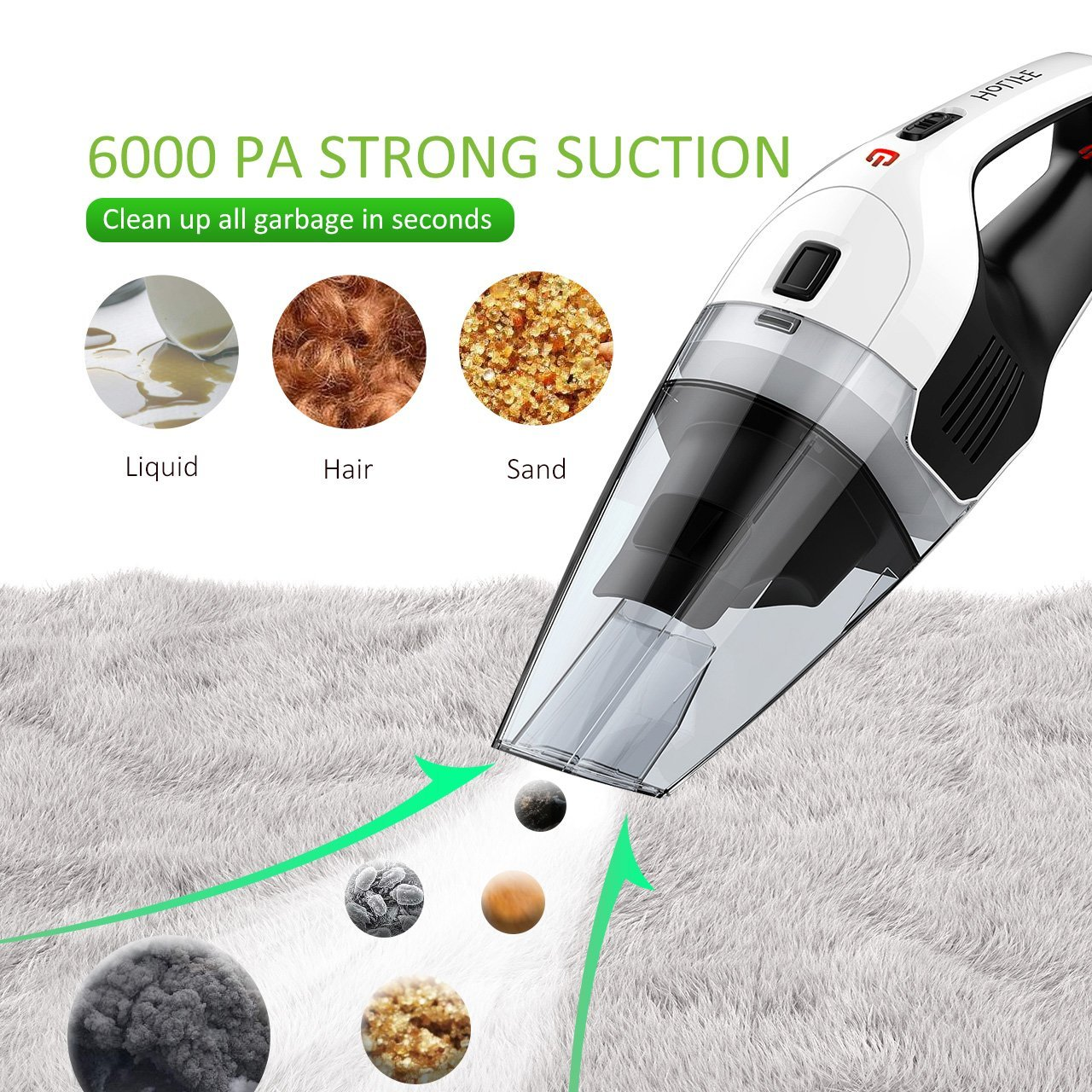 Hand Vacuum, HoLife Cordless Vacuum Cleaner with 14.8V Li-ion Battery Powered Rechargeable Quick Charge Tech and Cyclone Suction Lightweight Hand Vac New Version