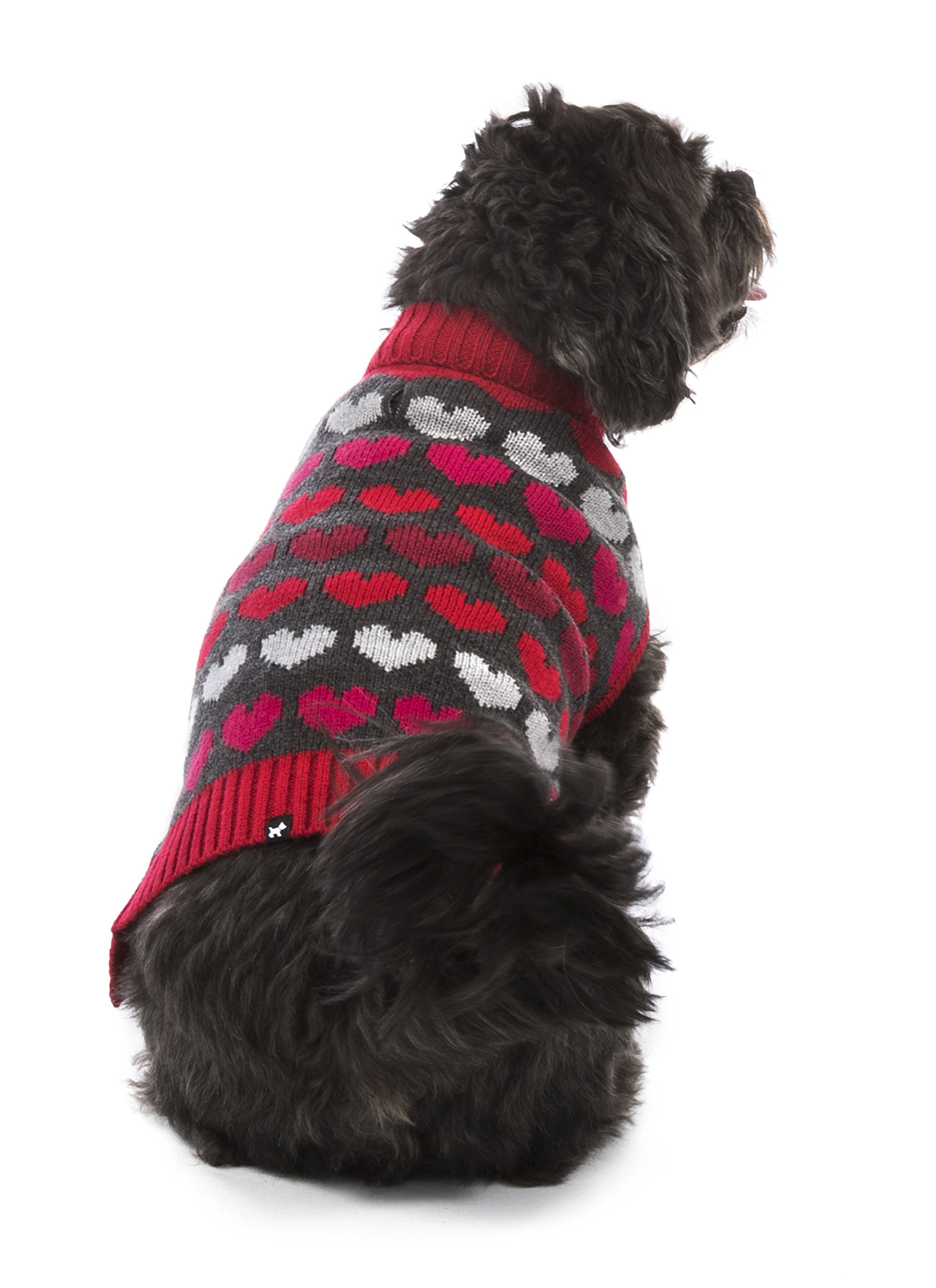 Hotel Doggy Multi Heart Turtleneck Dog Sweater Cranberry Red, Dog Clothing S by Hotel Doggy