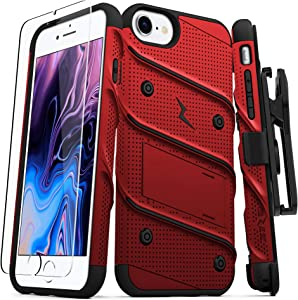 ZIZO Bolt Series for iPhone SE (2020) / iPhone 8 / iPhone 7 Case with Screen Protector Kickstand Holster Lanyard - Red & Black