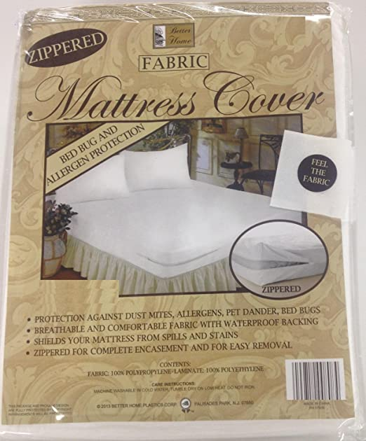 Better Home Zippered Fabric Mattress Cover, Protects Against Bed Bugs (Queen)