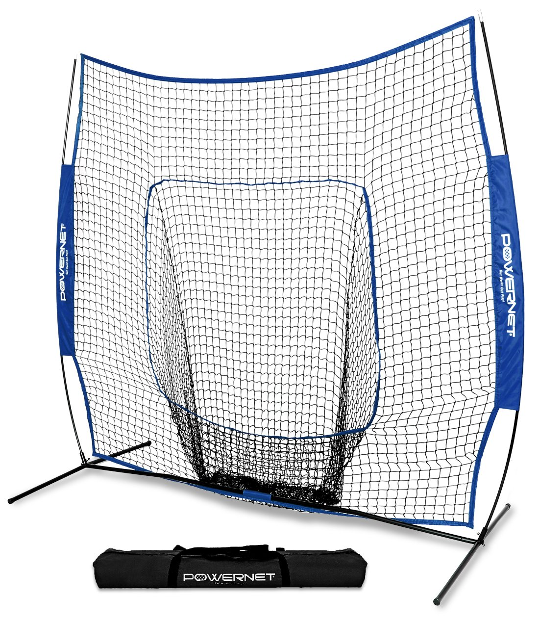 PowerNet Team Color Baseball Softball 7x7 Hitting Net w/Bow Frame (Royal Blue) by PowerNet