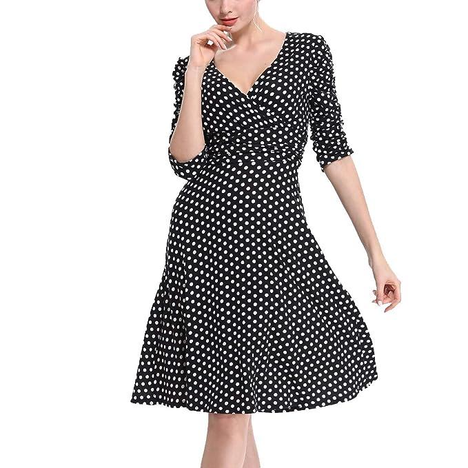 Amazon.com: Ann Darling Vestido de mujer con cuello en V y ...