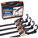 Heavy duty Ratchet Straps - Pro Set - 4 pack 15 ft 1760Lbs, Boat, ATV & Motorcycle Tie down straps, BONUS  Soft loops – Cargo Straps for moving equipment, kayak etc. Great Truck & Trailer Accessories