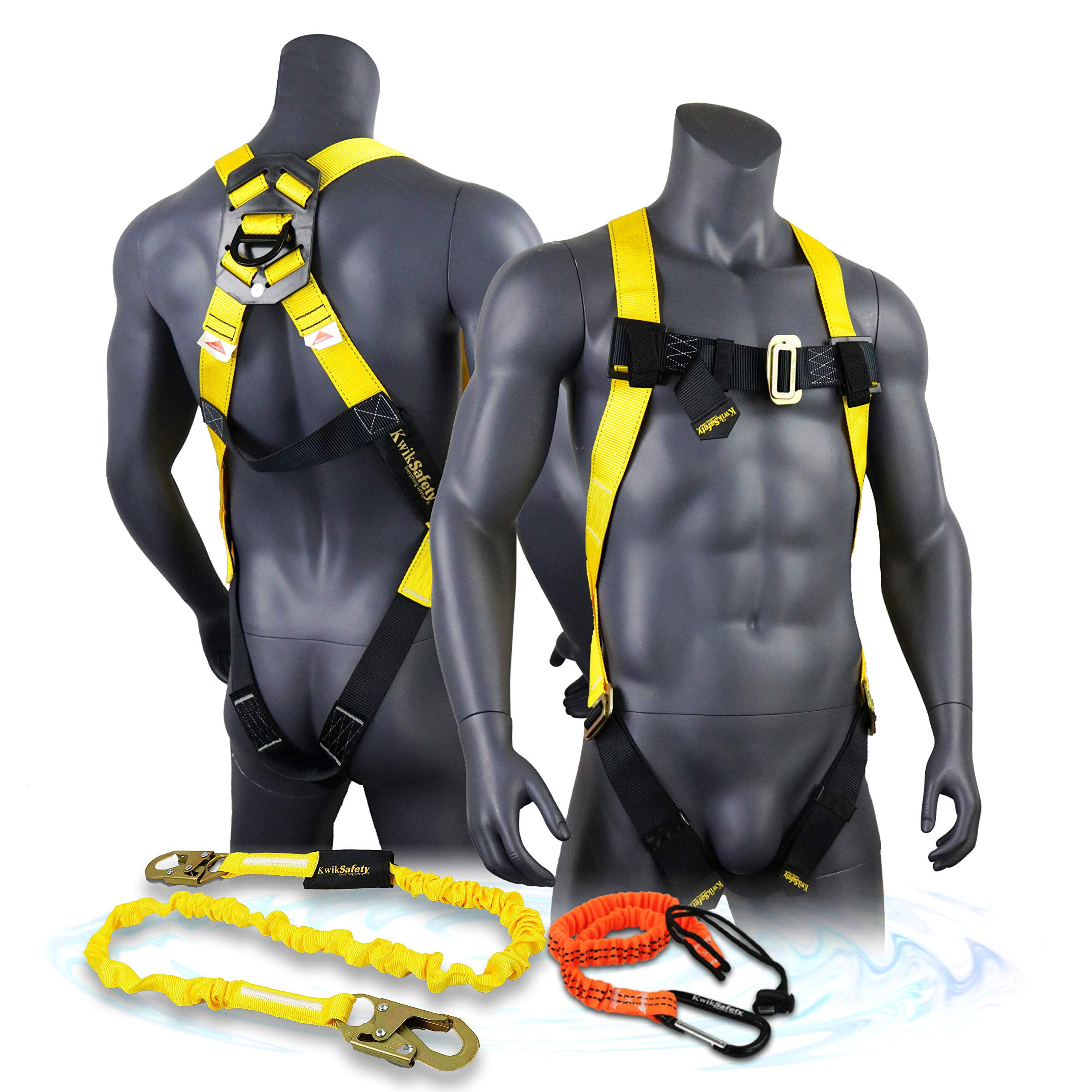 KwikSafety (Charlotte, NC) TORNADO COMBO | 1 D-Ring Full Body Safety Harness, 6' Lanyard, Tool Lanyard, ANSI OSHA PPE Fall Protection Arrest Restraint Equipment Universal Construction Roofing Bucket by KwikSafety