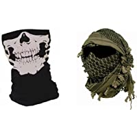 Lot shemagh keffieh cheche US Army - Foulard palestinien + Tour de cou tete de mort ghost - Airsoft paintball outdoor