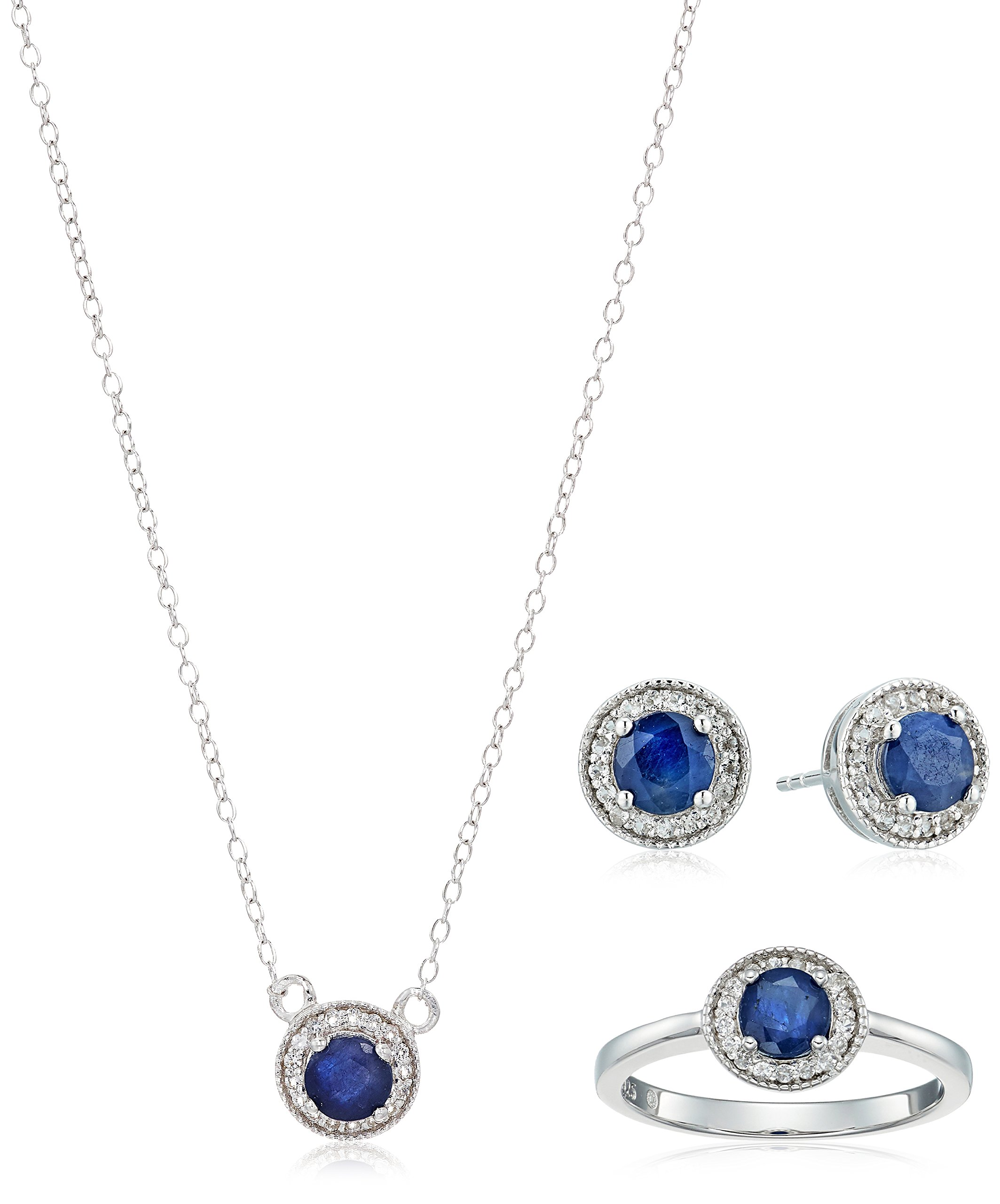 Sterling Silver Round Blue Sapphire and White Topaz Halo Jewelry Set