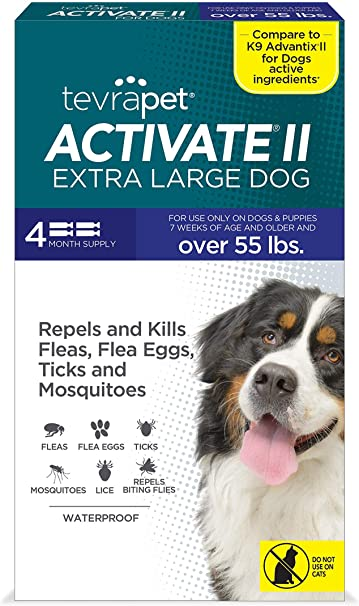 Amazon Com Tevrapet Activate Ii Flea And Tick Prevention For Dogs 4 Months Topical Flea And Tick Treatment And Control 55 Lbs Pet Supplies
