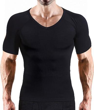 VENI MASEE Camisa de compresión Hombre Adelgaza la Talla para Hombre Camisa de compresión con Cuello en V súper Suave y Ajustada: Amazon.es: Ropa y accesorios