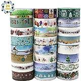 Buluri Washi Tape para la decoración de Navidad, 24 rollos de cinta adhesiva adhesiva Washi Cinta decorativa para Scrapbooking DIY Crafts