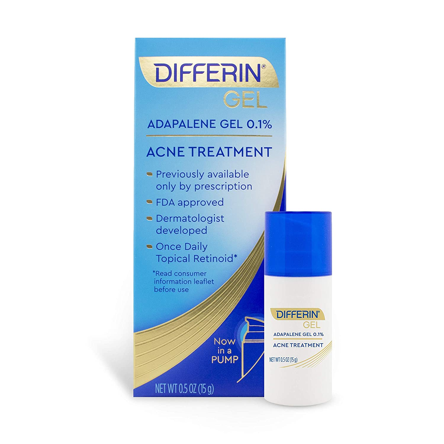 Differin Adapalene Gel 0.1% Acne treatment, 15g, 30-day Supply Pump