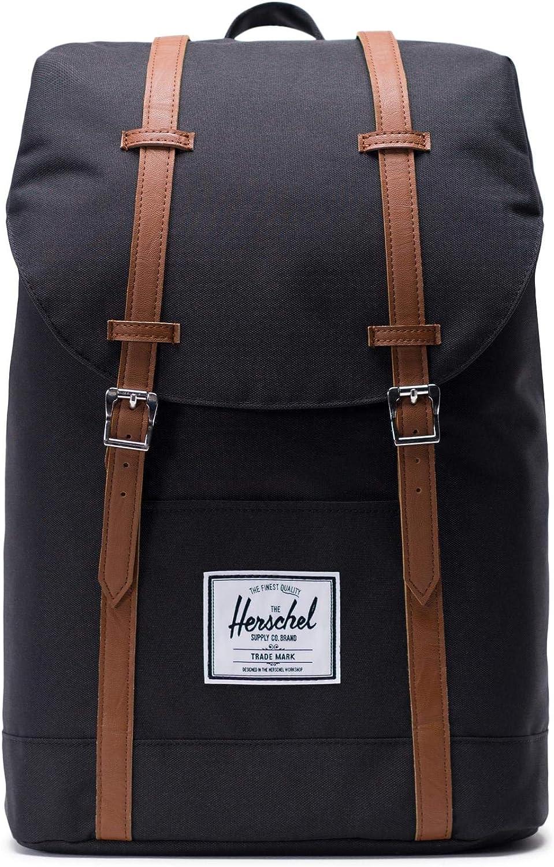 Herschel Retreat Backpack Casual Daypack, 43 cm, 19.5 liters, Black (SchwarzTan)
