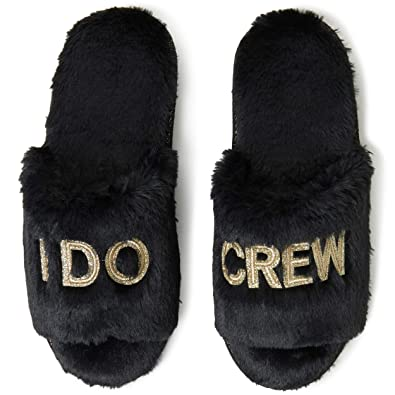 bbf9cf4251c39 Dearfoams Women's I Do Crew Bridesmaid Slide Slippers, Medium (7-8 ...