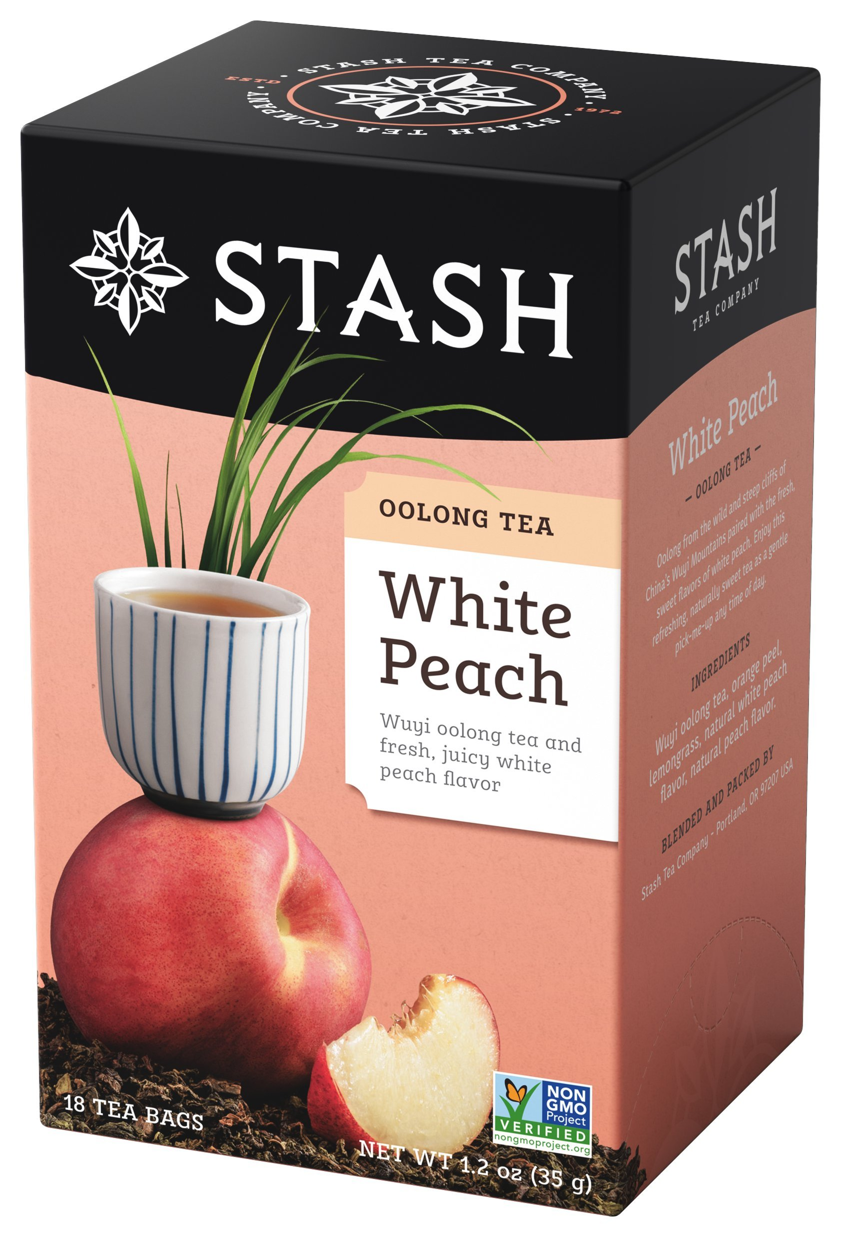 Stash Tea White Peach Wuyi Oolong Tea 18 Count Tea Bags in Foil (Pack of 6) Individual Oolong Black Tea Bags, Use in Teapots Mugs or Cups, Brew Hot Tea or Iced Tea by Stash Tea