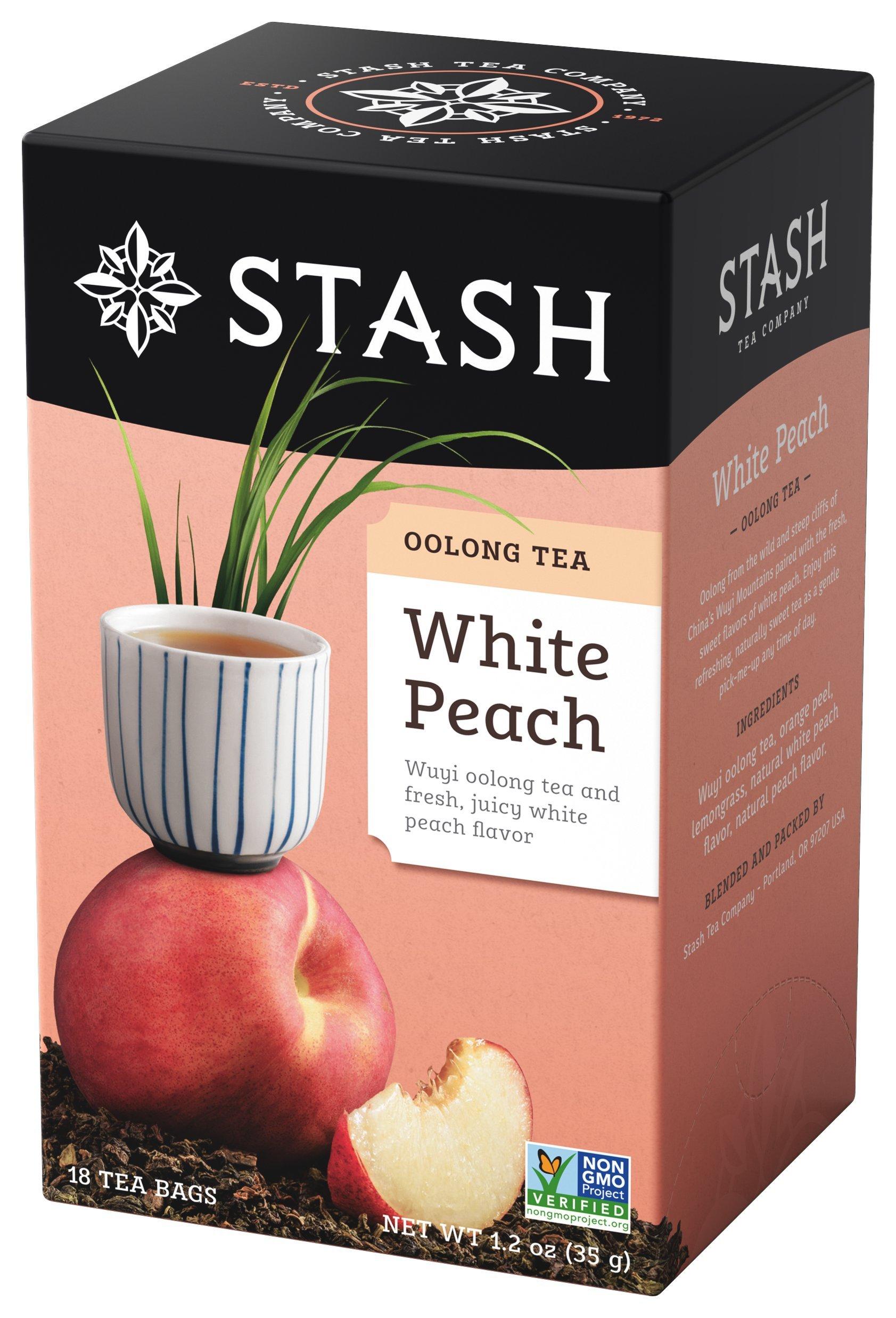 Stash Tea White Peach Wuyi Oolong Tea, 1.2 oz, 18 Count Tea Bags in Foil (Pack of 6)