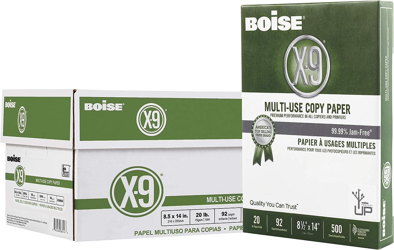 "Boise X-9 Multi-Use Copy Paper, 8.5"" x 14"" Legal, 92 Bright White, 20 lb, 10 Ream Carton (5,000 Sheets)"