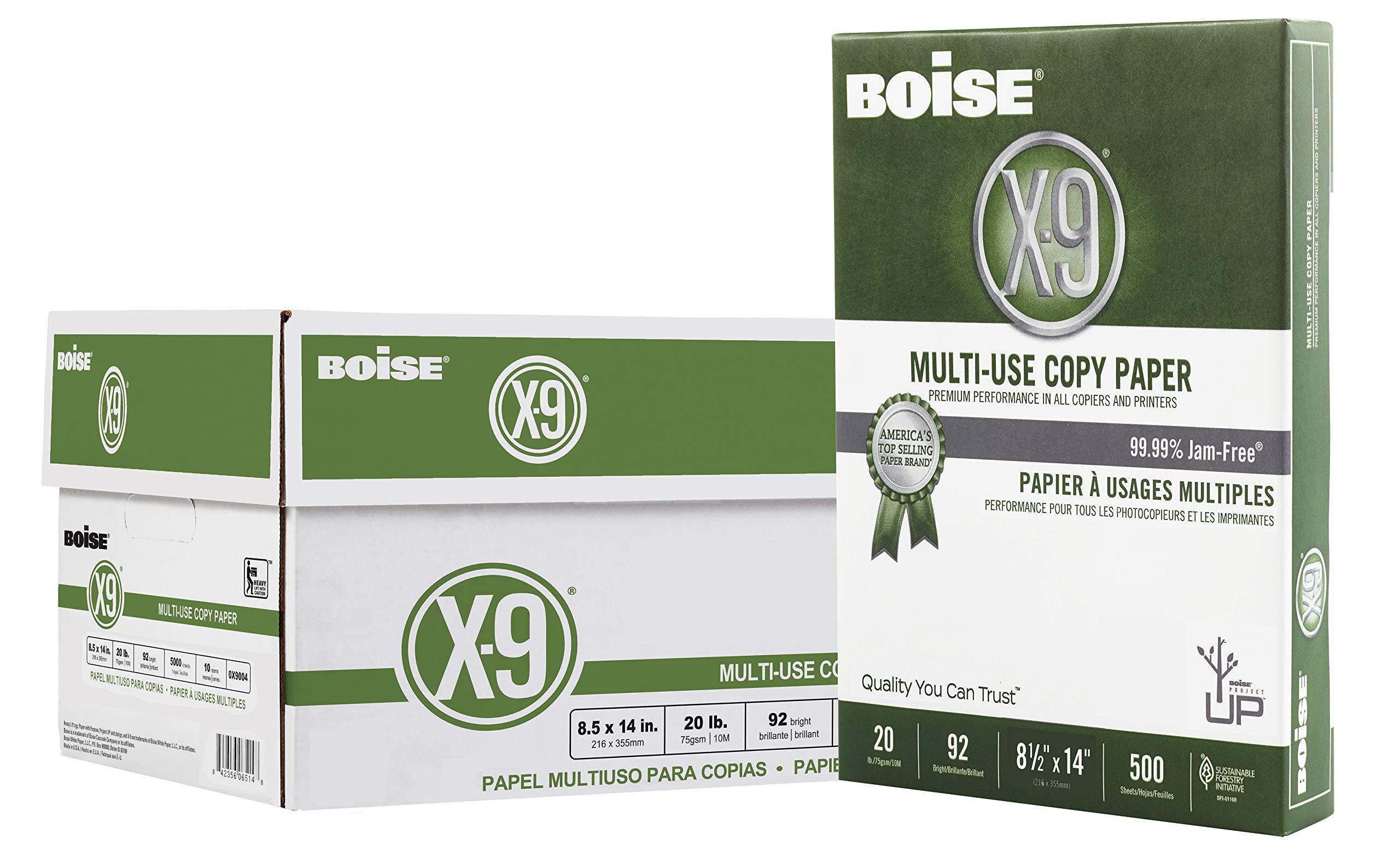 Boise X-9 Multi-Use Copy Paper, 8.5'' x 14'', 92 Bright, 20 lb, 10 Ream Carton (5,000 Sheets) by Boise Paper