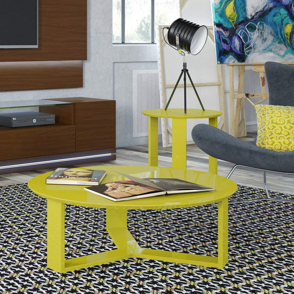 Manhattan Comforts 85055-MC Madison 1.0 Accent Side Coffee Table, Yellow