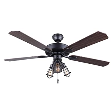 Canarm LTD CF52OTT5GPH Otto 52  Ceiling Fan 5 Rev Blades Silver Oak/Walnut 3 Light, Graphite Metal Cage Shades, Dual Mount, No Limiter