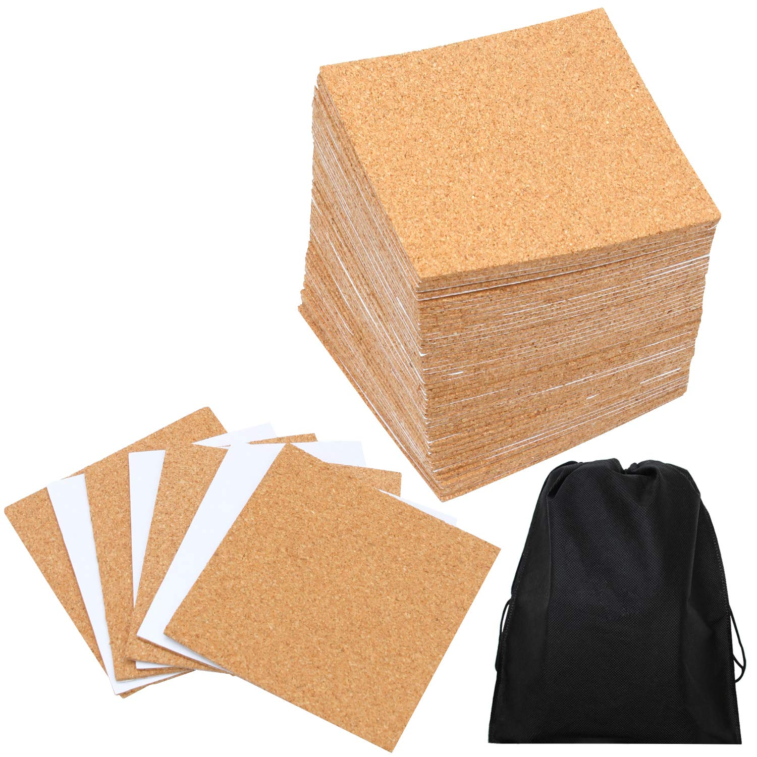Resinta 80 Pack Self-Adhesive Cork Squares 4 Inches x 4 Inches Cork Backing Sheets Mini Wall Cork Tiles with a Storage Bag for Coasters and DIY Crafts