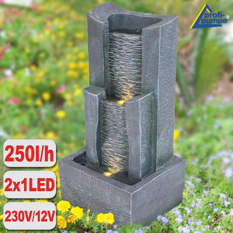 Gartenbrunnen 3-Stufige STEIN-KASKADE mit LED-Licht: Amazon.es: Hogar