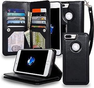 Navor Magnetic Detachable Wallet Case [RFID Protection] [10 Card Pockets] [3 Money Pockets] Compatible for iPhone 7 Plus JOOT-3L Series - Black (IP7P3LBK)