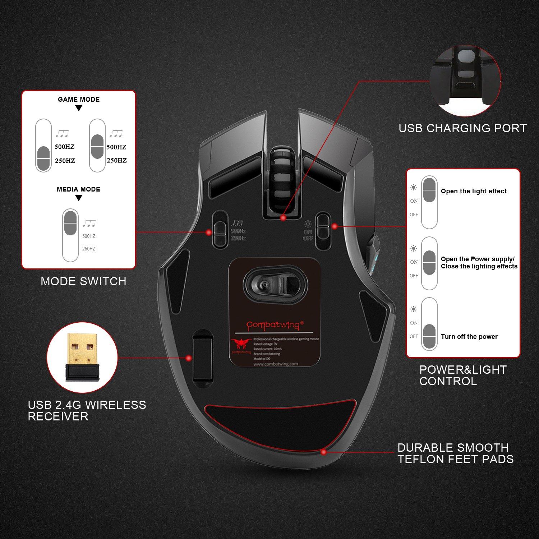 Combatwing W100 - Ratón óptico inalámbrico para juegos. Batería recargable, 4 niveles de sensibilidad, 8 botones, iluminación en 3 colores. Para PC y Mac (Negro)