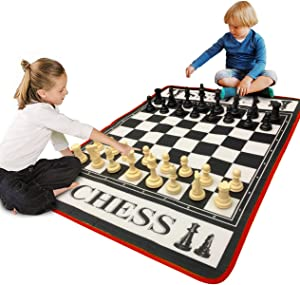"EasyGo Giant 3' X 4' Mat Chess Game – Indoor Outdoor Family Game – Lawn Game –Piece Range from 3-6"" Tall"