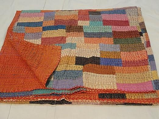 Hecho a mano Textiles Indian Tribal de algodón colcha de matrimonio colcha con bordado Kantha indio