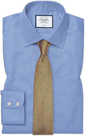 Charles Tyrwhitt Camisa Azul de Tela Royal Panama y Corte clásico sin Plancha: Amazon.es: Ropa y accesorios