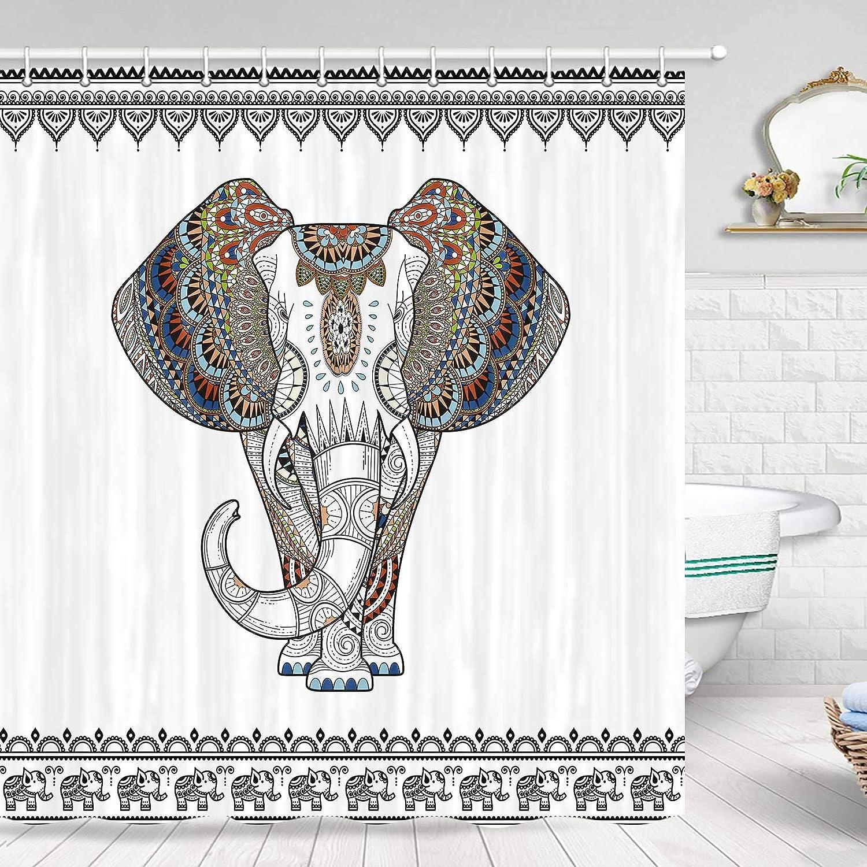 Elephant Shower Curtain, Ethnic Style Bohemian Creative Animal Elephant Black and White Shower Curtain, Fabric Shower Curtain Hooks Include,70 in