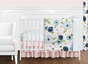 Sweet Jojo Designs Navy Blue and Pink Watercolor Floral Baby Girl Nursery Crib Bedding Set - 11 Pieces - Blush, Green and White Shabby Chic Rose Flower Polka Dot