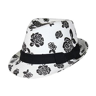9ff8deb0c Ellie's Tribe Floral Rose Summer Straw Fedora Cute Black & White ...