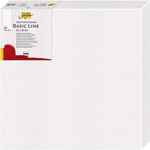 Solo Goya Basic Line - Lienzo en bastidor, con 4 capas de algodón, ideal para pintura al óleo, acrílico y gouache, profundidad de trazo de aprox. 3,8 cm, 20 x 20 cm: Amazon.es: Hogar