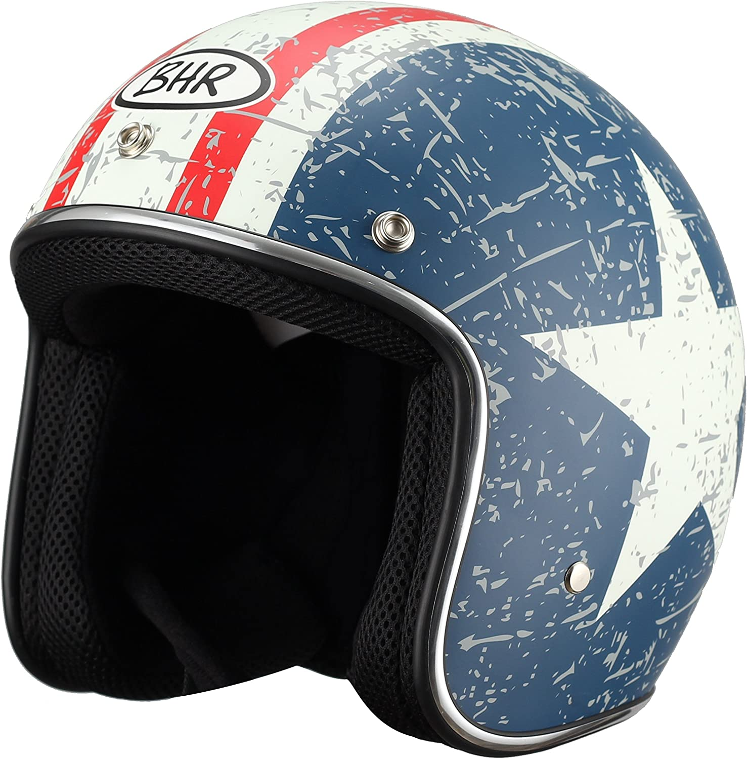 BHR Jet Helmet 711 53//54 Black//Orange