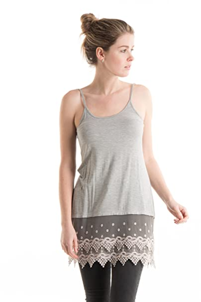Fashionomics Womens Lace Trim Solid Slip Extender with Adjustable Strap (S,  Hgrey)