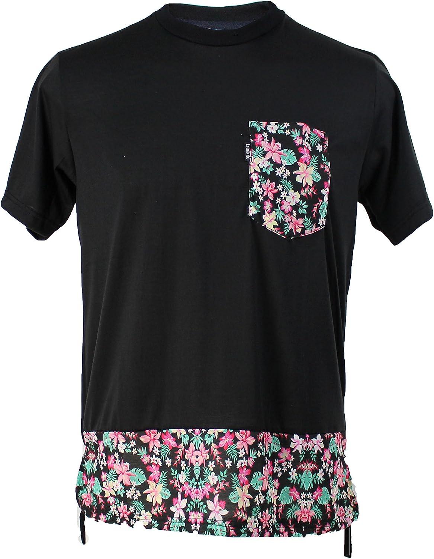 TRANKILO Camiseta Negra con Bolsillo de Flores (L): Amazon.es: Ropa y accesorios