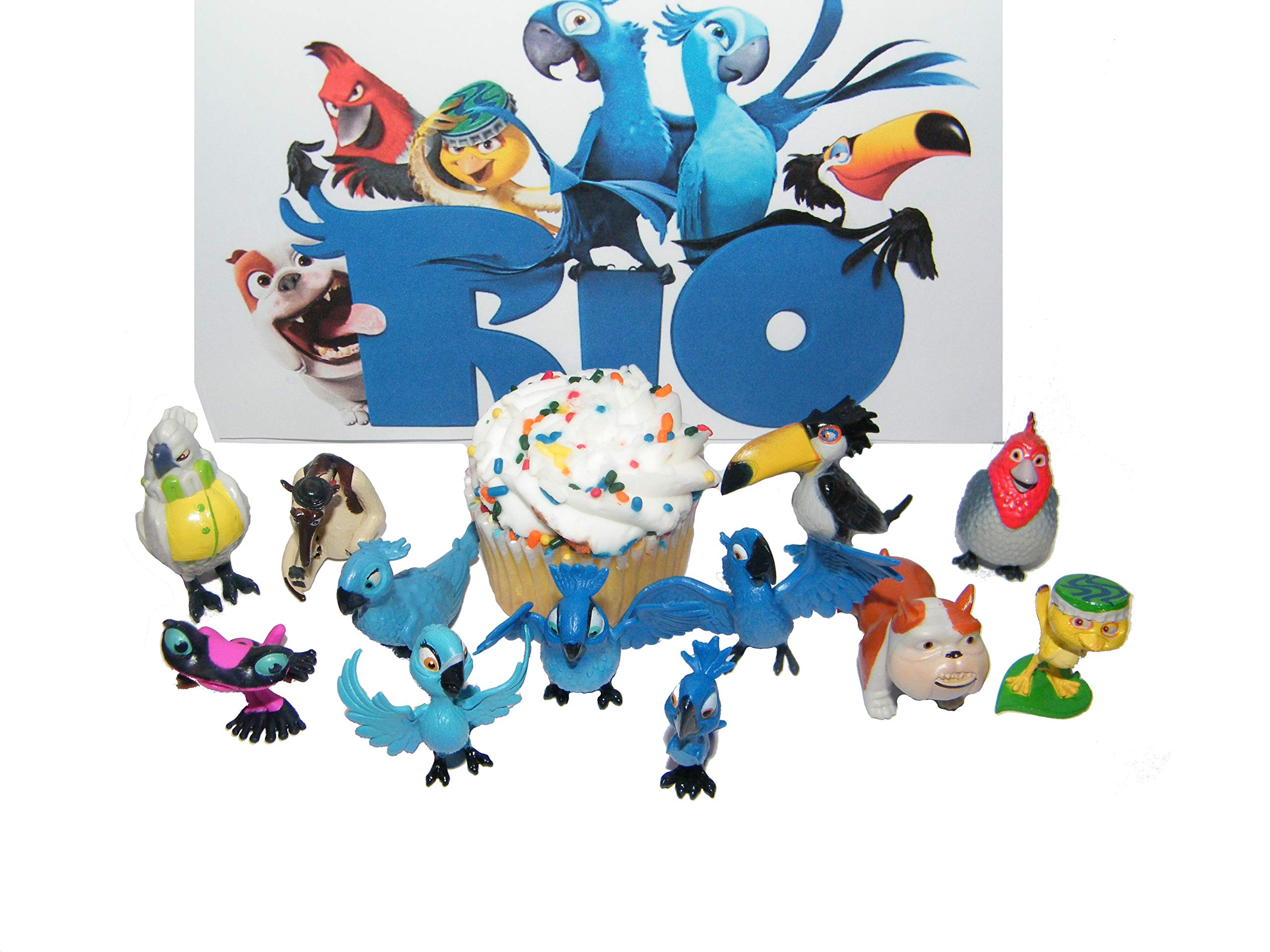 Rio Movie Set of 12 Bird Figure Cake Toppers / Cupcake Decorations Party Favors with Blu, Jewel, the 3 Kids, Luiz, Nigel and New Characters Gabi, Charlie and More! by Rio