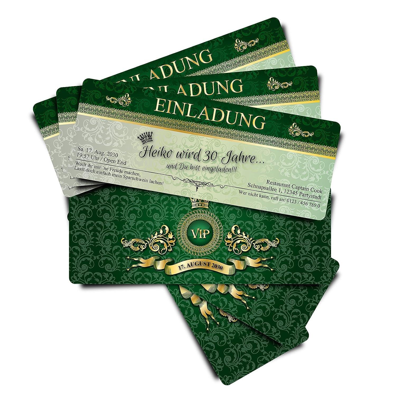 80 Geburtstagskarten Geburtstagseinladungen Einladungskarten zum zum zum Geburtstag VIP Grün Royale  Ticket Eintrittskarte B01IZS7BD2 | Beliebte Empfehlung  39b70e