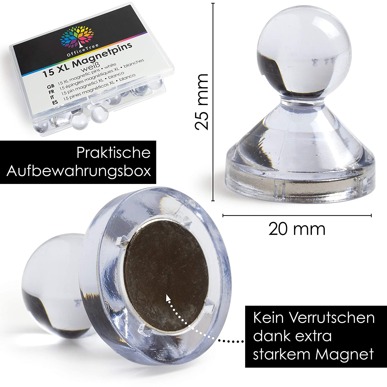 Magneti a Spillo per Lavagna Magnetica 15 Coni con calamita in neodimio XL Trasparente OfficeTree Magneti per Lavagna