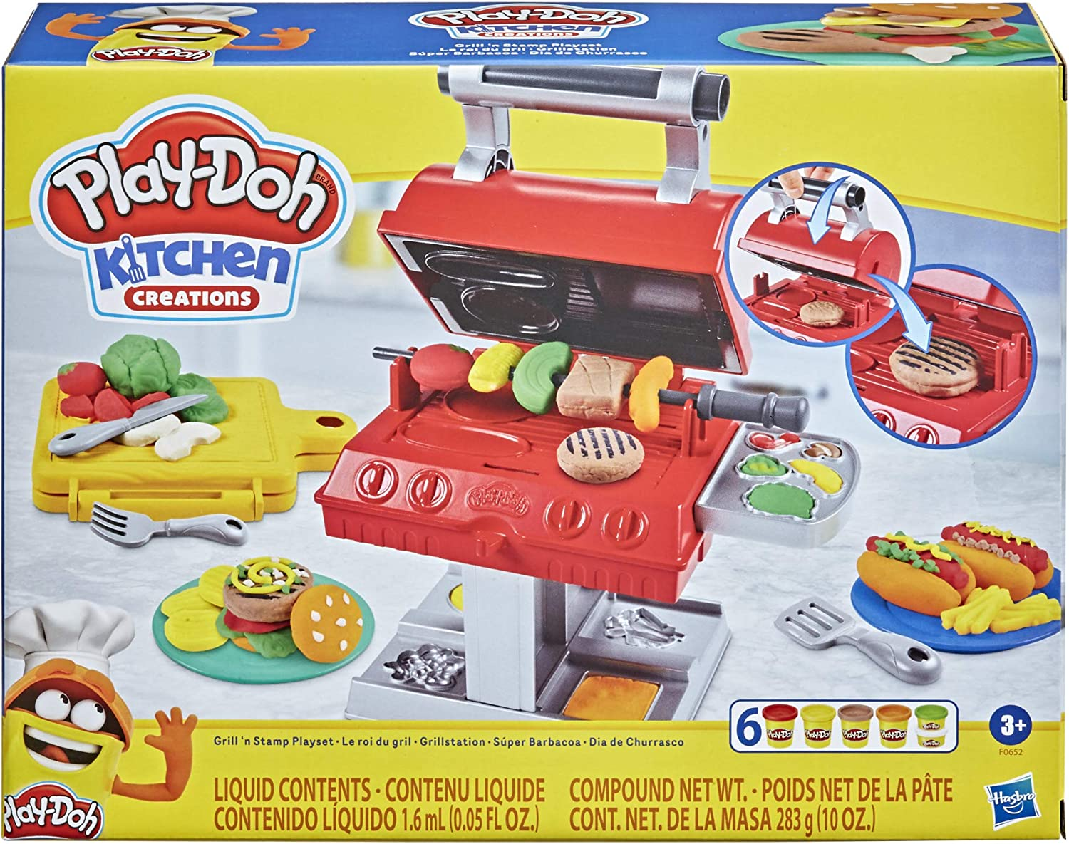 Play-Doh Kitchen Creations Grill 'n Stamp Playset for Kids 3 Years and Up with 6 Non-Toxic Modeling Compound Colors and 7 Barbecue Toy Accessories