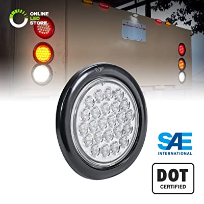 "4"" White Round LED Reverse Trailer Tail Light [DOT FMVSS 108] [SAE (2) R] [24 LED] [Grommet & Plug Included] [IP67 Waterproof] [Back Up Signal] Trailer Lights for Boat Trailer RV Trucks: Automotive"