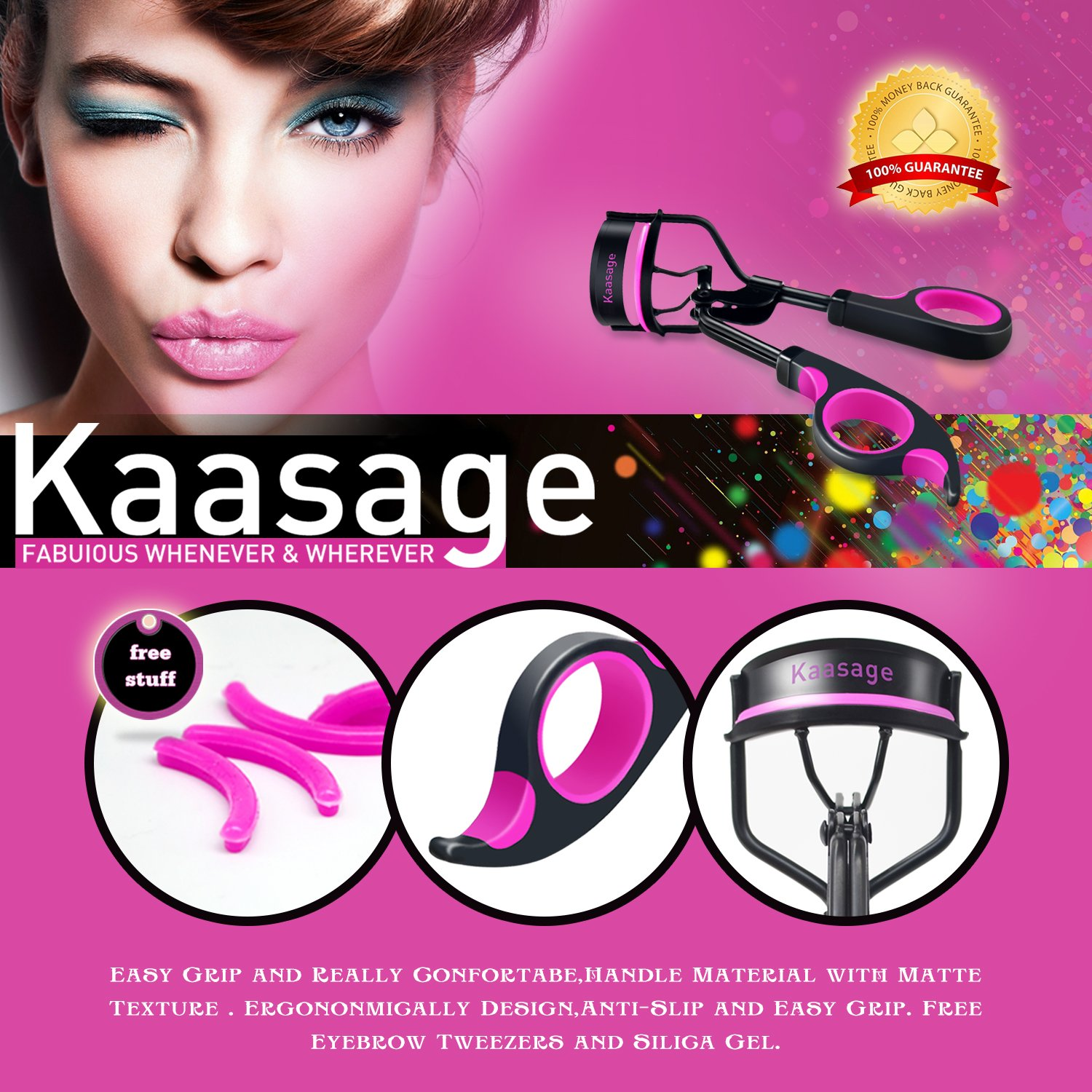 Kaasage Eyelash Curler With Advanced Silicone Pressure Pad Fits